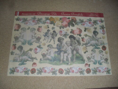 anges et fleurs papier voile pour découpage technique serviette 48 X 33,5cm