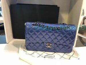 d9f837206527 Chanel Classic Medium Large Double Flap - Blue Patent Leather w  SHW ...