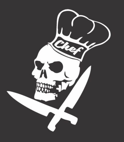 Chef Skull Knifes Culinary 601 Die Cut Vinyl Window Decal//Sticker for Car//Truck