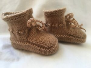 8b29092232573 Details about Alpaca Blend Baby Booties Light Brown 0 - 3 Months Hand  Knitted Unisex warm shoe