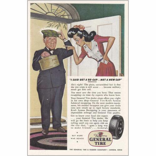1944 General Tire I Said Get a Re-Cap Not a New Cap Vintage Print Ad
