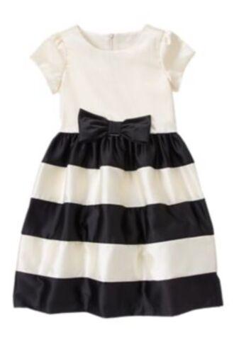 Gymboree NWT Very Merry Black White Striped Satin Christmas Dress 4 5 6 7 8 10