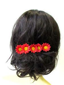 5 x Red Daisy Flower Hair Pins Chrysanthemum Floral 1950s Bridesmaid Set 1756