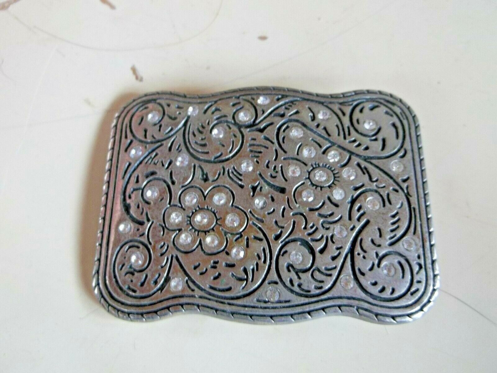 Silver and Crystal Spiral Flower Design Rectangular Woman's Belt Buckle