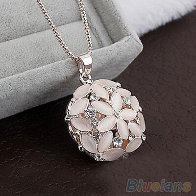 Popular Woman Girl 3D Opal Crystal Flower Pendant Long Chain Fashion Necklace
