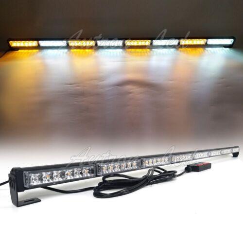 """50/"""" 48W LED Strobe Light Bar Traffic Adviser Warn Emergency Response Amber White"""