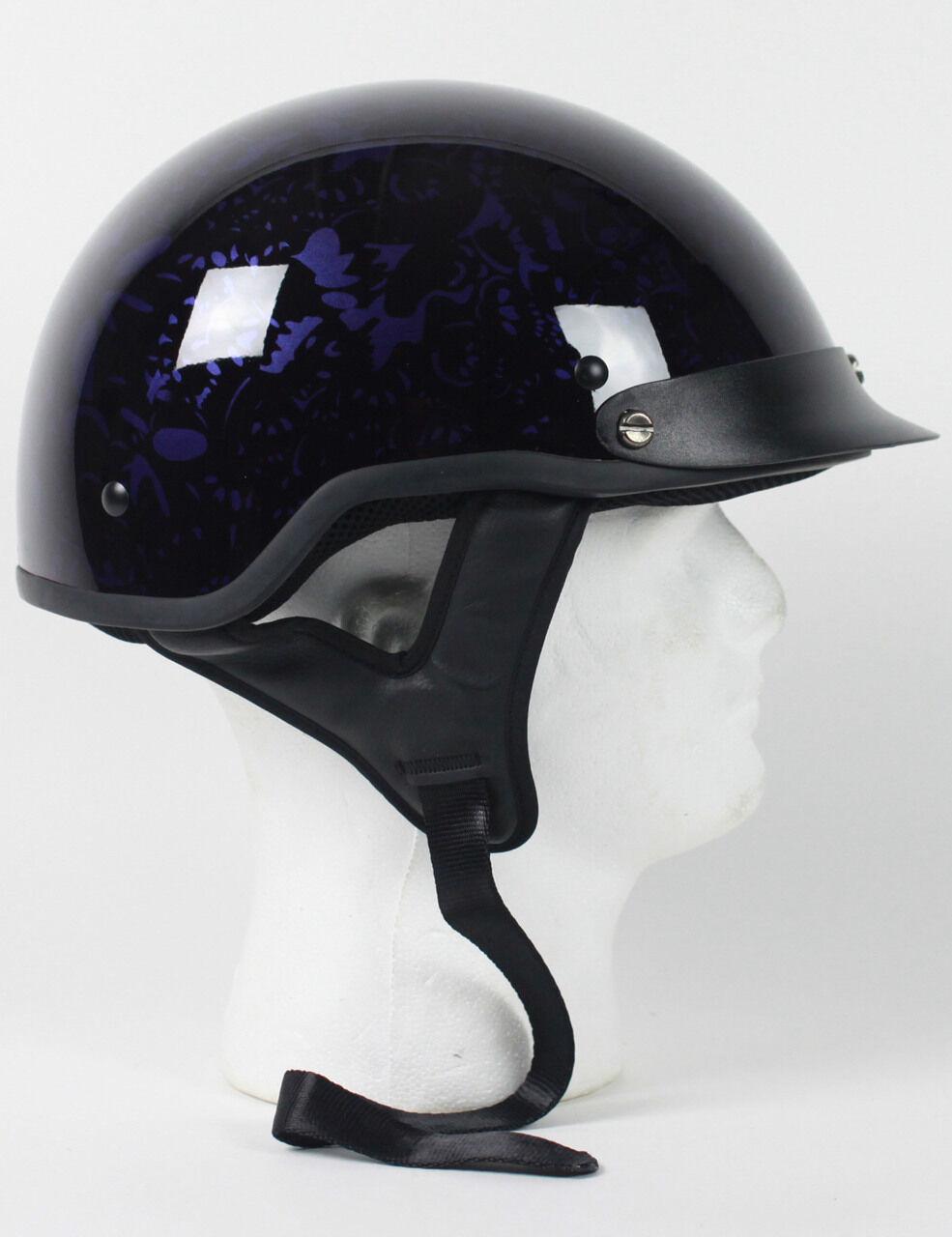 DOT PURPLE  BONEYARD  MOTORCYCLE HALF HELMET BEANIE HELMETS SHORTY LIGHTER NEW  world famous sale online