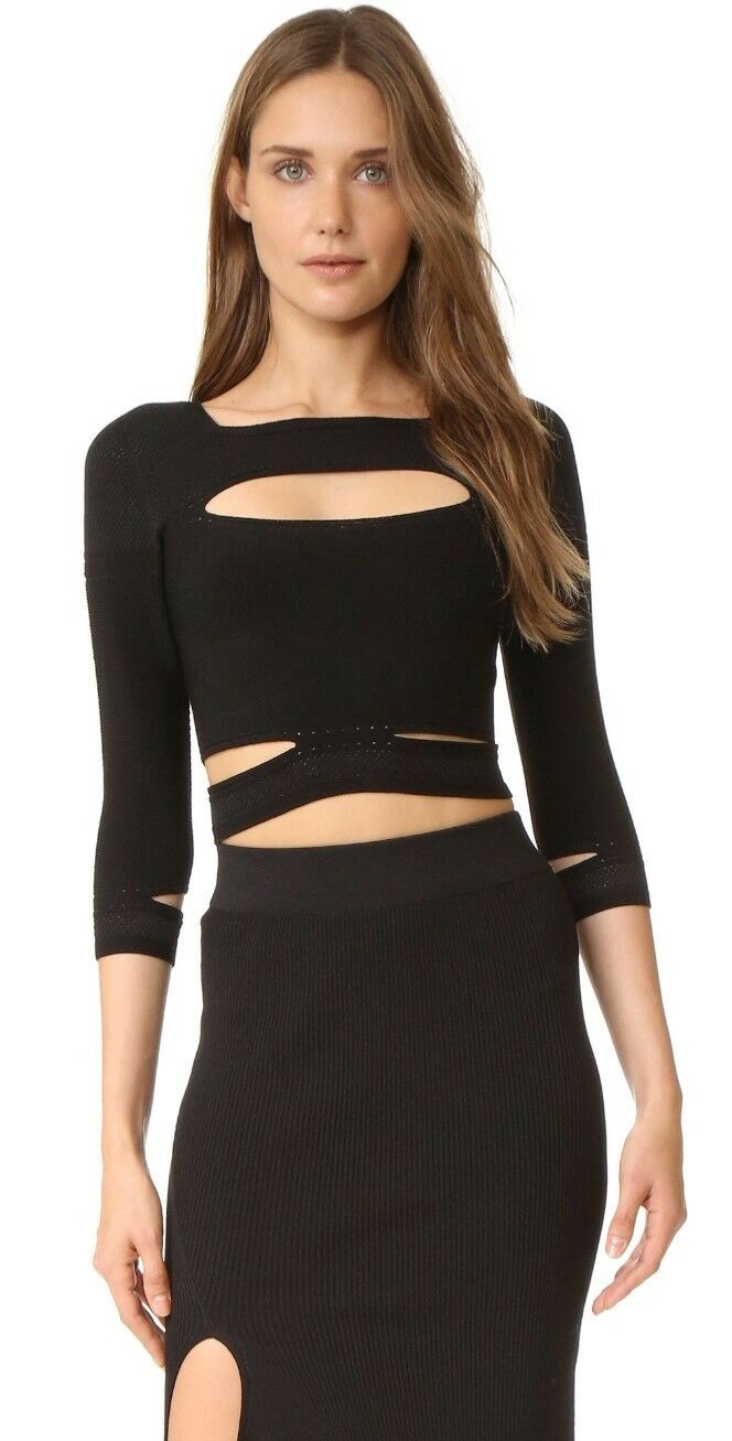 Cushnie Et Ochs cropped slashed slashed slashed knit top  XS sold out 0cb1c3