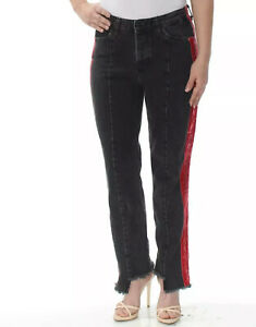 Guess-Femmes-Cigarette-Taille-Moyenne-Jeans-Jambe-Droite-avec-Cote-Rouge-Velours