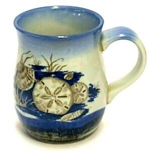 "HANDMADE STUDIO ART POTTERY SEASHELL COFFEE MUG CUP BLUE WHITE BROWN 4"" TALL"