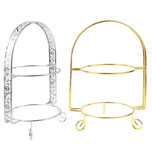 Metal Cake Stand Double-Layer Arch-Shaped Golden Fruit Dessert Rack Party DecPT