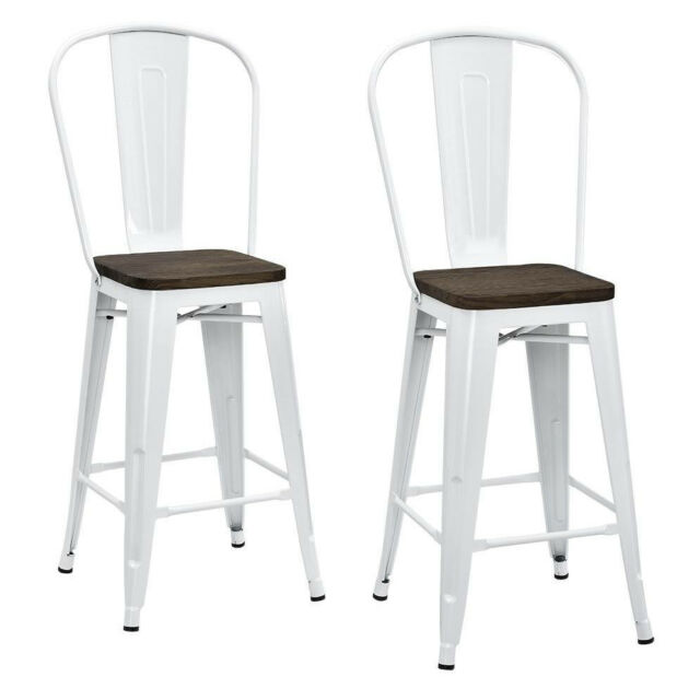 Outstanding White Metal Counter Stool 2 Pack 24In Wood Seat Back Foot Rest Kitchen Furniture Short Links Chair Design For Home Short Linksinfo