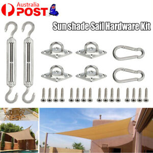 8PC Square Triangle Sun Shade Sail Stainless Steel Awning Install Fix Supply New