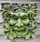 GREEN MAN SQUARE GARDEN WALL PLAQUE PAGAN frost proof stone 26cm/10