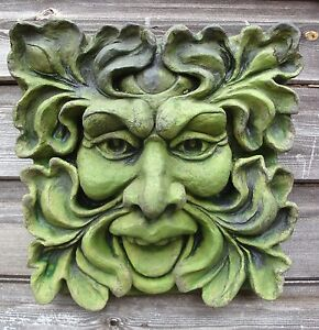 Image Is Loading Green Man Square Stone Wall Plaque Pagan Home