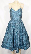 TRACY REESE NEW NWT Blue Lagoon Black Rose Floral Print Ballerina Slip Dress 8