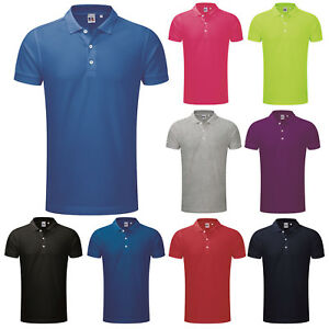 19c6d546c342 RUSSELL MENS SHORT SLEEVE SLIM FIT STRETCH PIQUE POLO SHIRT S-3XL ...