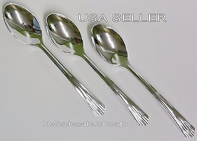 48 Plastic Silver SPOONS / Disposable Cutlery Look of Silverware