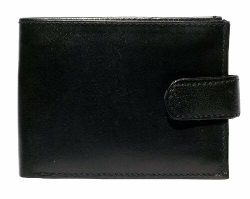 Black Leather Notecase Credit Card Wallet with Inside Zip /& Note Section 196