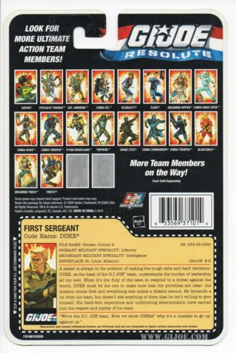 G I JOE File Card FileCard  UNCUT     2008 Duke V30 Resolute