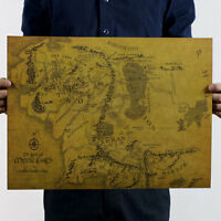 Map Of Middle Earth Lord Of The Rings HD 19*14''/32*24'' Poster Art Print Photo