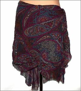 5d4116491c8 Bnwt Women's French Connection Chiffon Silk Sequin Wrap Skirt RRP ...