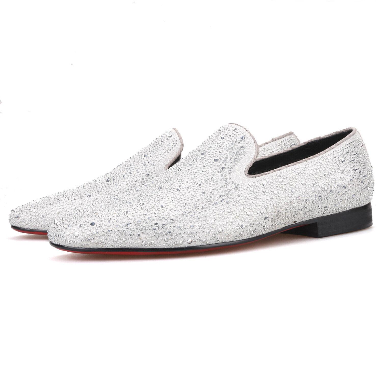 Merlutti Silber Strass Slipper Funkelnd Kristallen Schuhe Schuhe Schuhe Abiball Hochzeit Flach    8dc01b