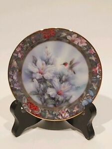 Collectable-Bradford-Exchange-Plate-By-Lena-Liu-034-The-Ruby-Throated-Hummingbird-034
