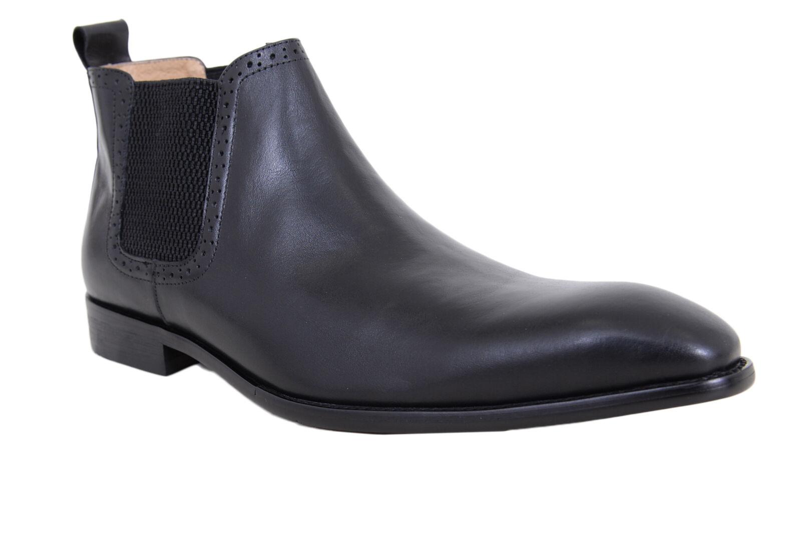 autorucci Nero Slip On pelle Chelsea tuttia Caviglia Stivali Vestito Sautope classeiche da uomo