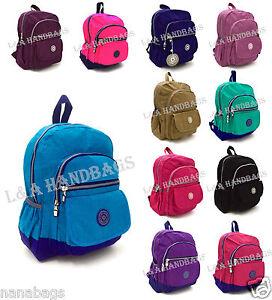 Ladies-LightWeight-Nylon-Multi-Pockets-A4-School-College-Backpack-Rucksacks