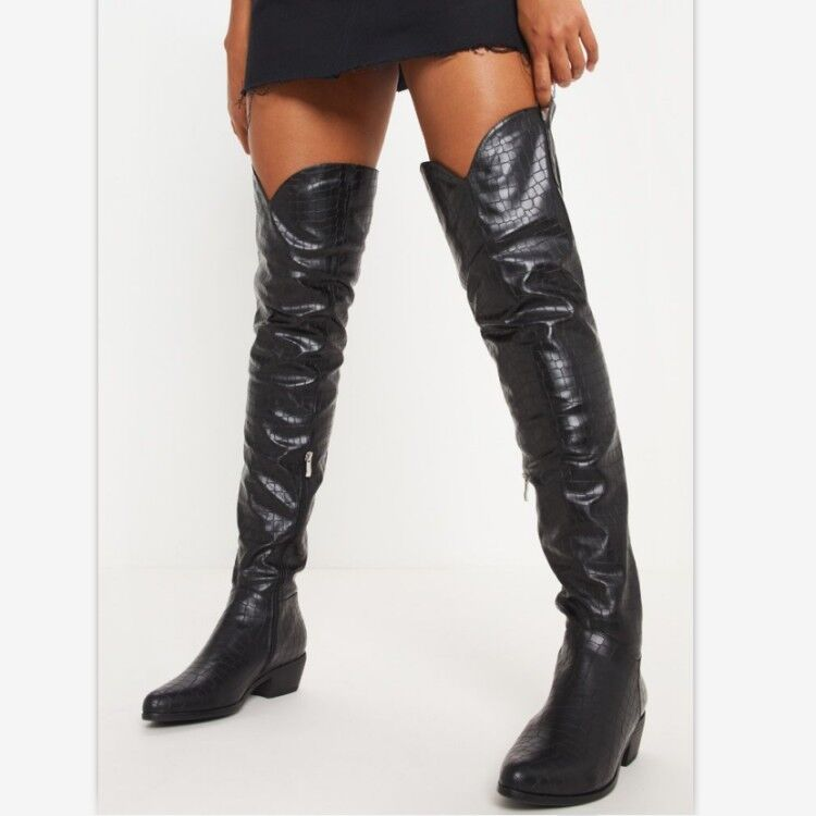 Women's Over Knee Boots Block Low Low Low Heels Leather Round Toe Casual shoes Side Zip 99435b