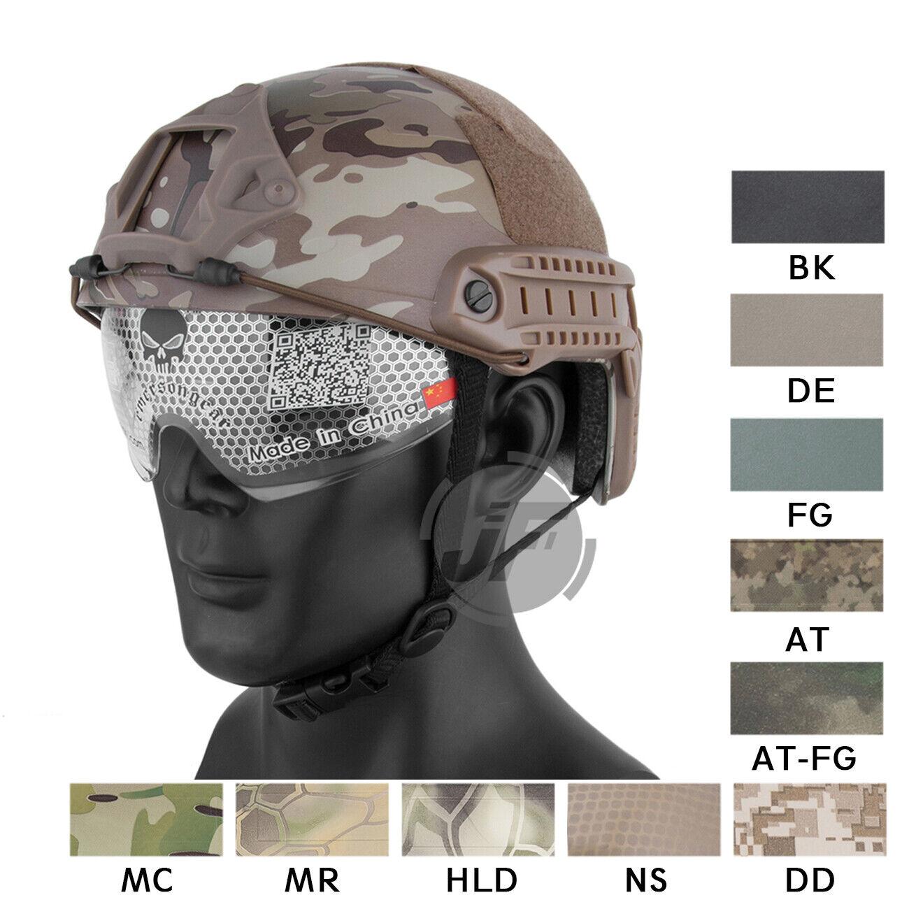 Emerson MICH Type FAST Helmet  Ballistic Tactical Helmet w  Goggles+Side Rail  comfortably