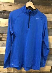 NIKE-Men-039-s-Running-Shirt-Element-Dri-Fit-Long-Sleeve-Half-Zip-Blue-Size-Medium