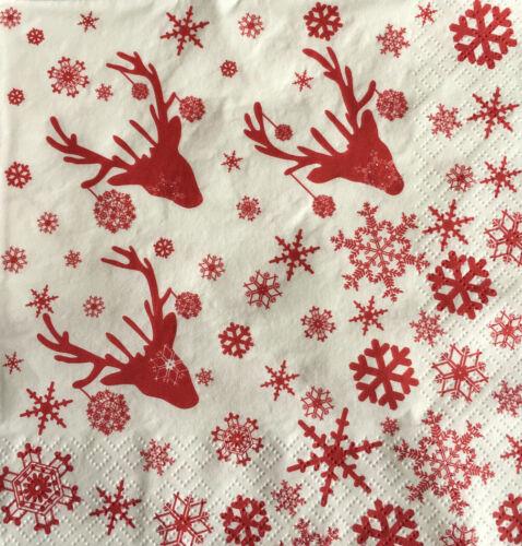 4 x CHROMOS DECOUPIS serviettes serviettes de salle à manger Craft Noël Rouge Scandi Rennes #32