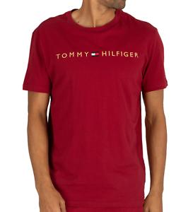TOMMY-HILFIER-Camiseta-para-hombre-manga-corta-roja-ruibarbo-M-L-XL