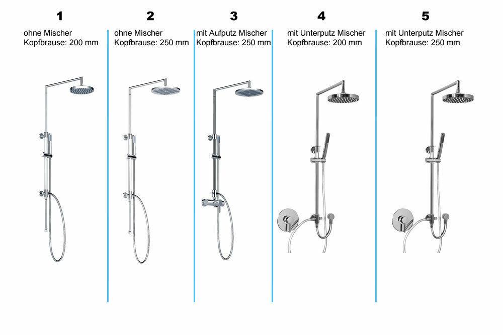 Aufputz Duscharmatur Duschsäule unterputz Brausearmatur Duschsystem Regendusche
