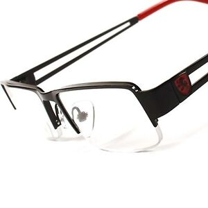 Stylish Hot Black Red Rectangle Half Frame Mens Womens 2 ...