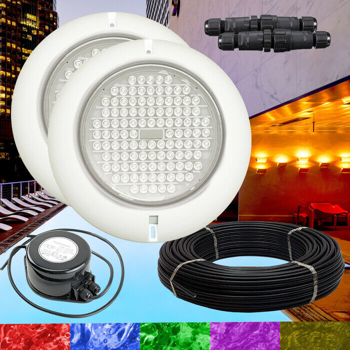 2 x Resin Filled Retro Fit RGB Swimming Pool Lights + Power + Cable Kit Quality