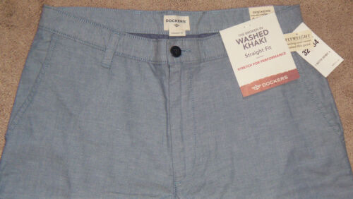 New Mens DOCKERS Flyweight Broken In Washed Khaki D2 Straight Fit Pants MSRP $58