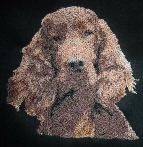 """Embroidered Quilt Block Panel /""""Red Setter Dog/"""" Black Linen Fabric"""