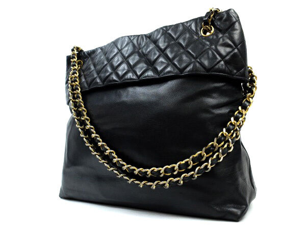 Auth CHANEL Lambskin Shoulder Bag Tote Bag Black for sale online  8241b4ac2ab4d
