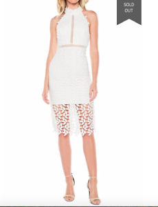 Elegant Sexy Bardot White Gemma Halter Lace Lace Lace Sheath Dress, wedding, party, afc900