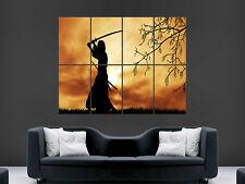 WARRIOR SAMURAI SWORD SILHOUETTE   ART HUGE  LARGE PICTURE POSTER GIANT