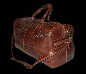 "/""HOLDALL/"" Burnish Leather Bag Weekend Duffel Travel Gym Genuine Leather"