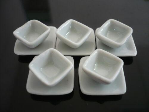 10 White Square Plates and Bowl  Dollhouse Miniatures Ceramic Supply Deco