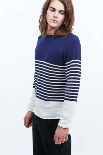 URBAN Outfitters Shore Leave Breton A Righe Maglione-Navy//Ecru-Small-RRP £ 55