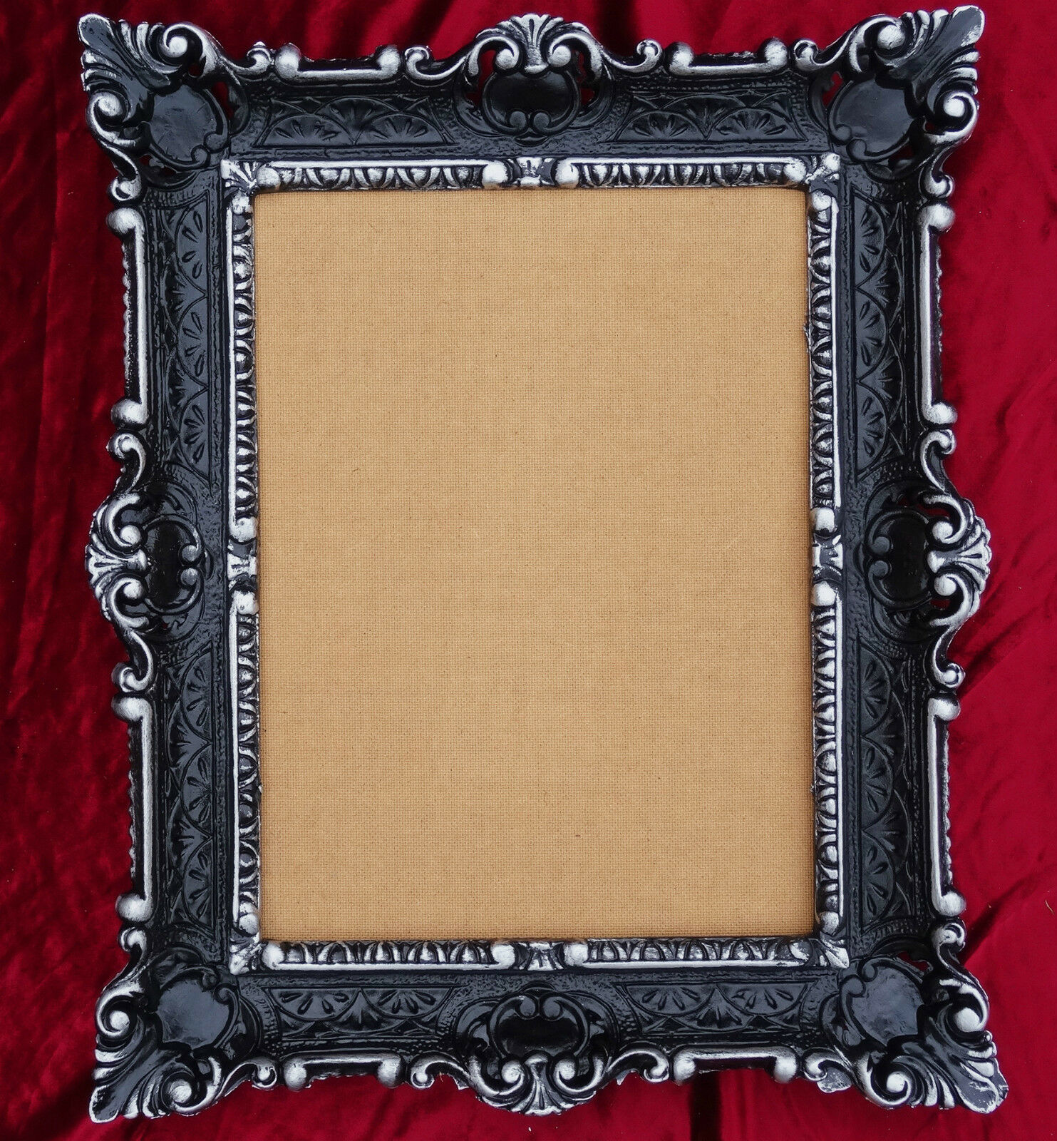 antik barock bilderrahmen schwarz silber 56x46 fotorahmen replikate bildrahmen ebay. Black Bedroom Furniture Sets. Home Design Ideas