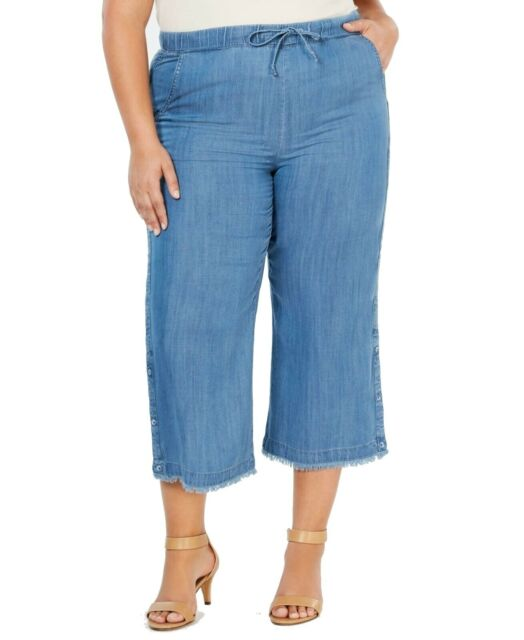 Style & Co. Women's Pants Blue Size 18W Plus Wide Leg Capri Stretch $59 #327