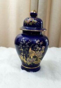 Collectible Ginger Jar Vase Cobalt Blue with Lid Japanese Floral Bird Gold Trim