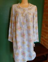 Women's Charter Club Lace Trim Blue Floral Fleece Nightgown Xs, S Or M, $55